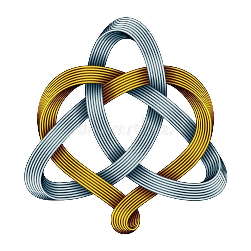 Triquetra z sercem złoci i srebni mobius paski Harmoniczny miłość symbol również zwrócić corel ilustracji wektora ilustracja wektor