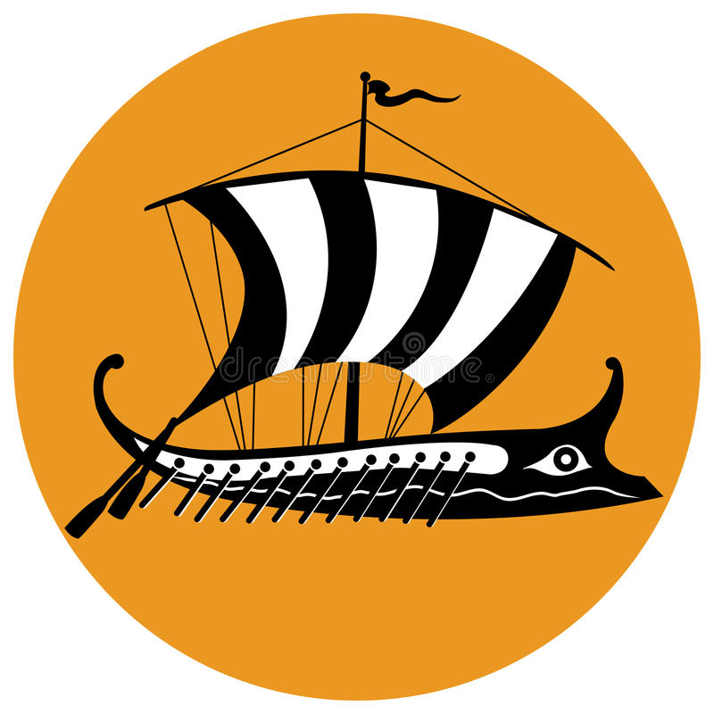Trireme black & white. Stylized black and white version of an ancient Greek ship in a colored background stock illustration