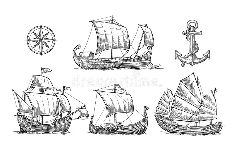 Trireme, caravel, drakkar, junk. Set sailing ships floating sea waves. royalty free illustration