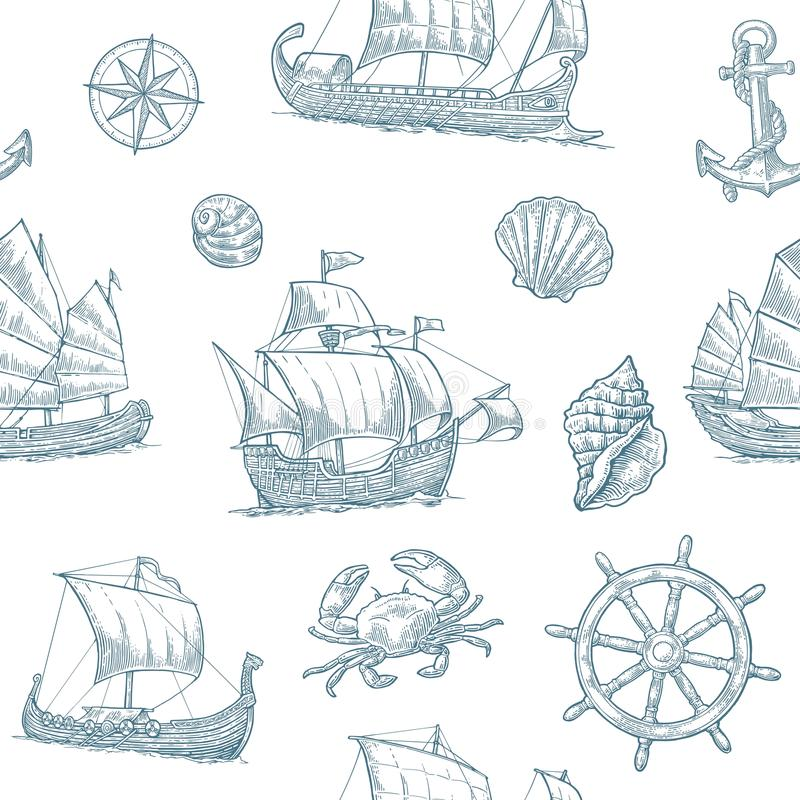 Trireme, caravel, drakkar, junk. Set sailing ships floating sea waves. stock illustration