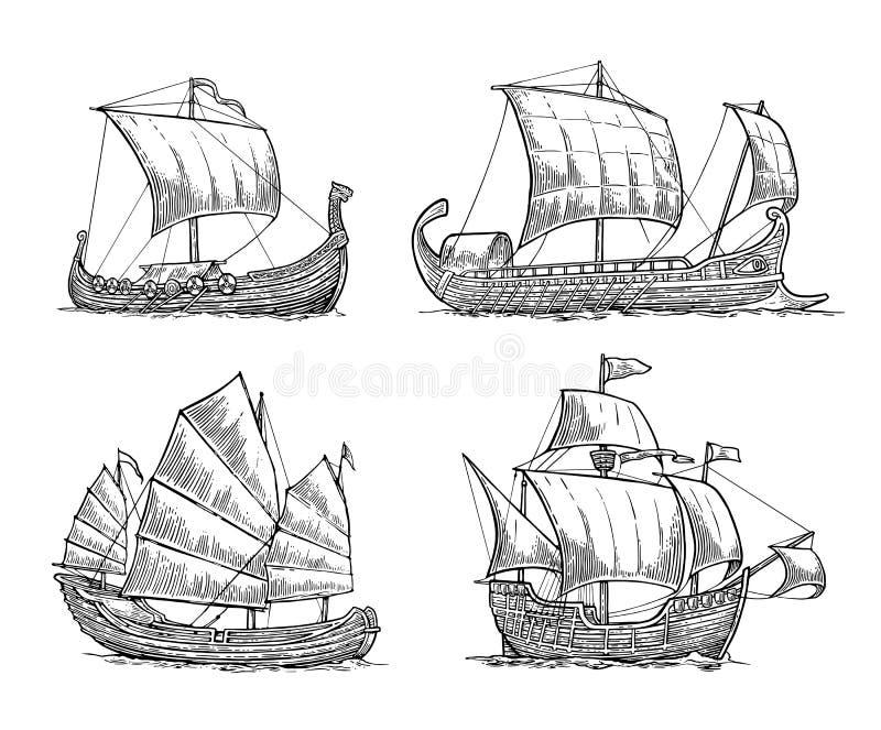 Trireme, caravella, drakkar, ciarpame Metta le navi di navigazione che fanno galleggiare le onde del mare royalty illustrazione gratis