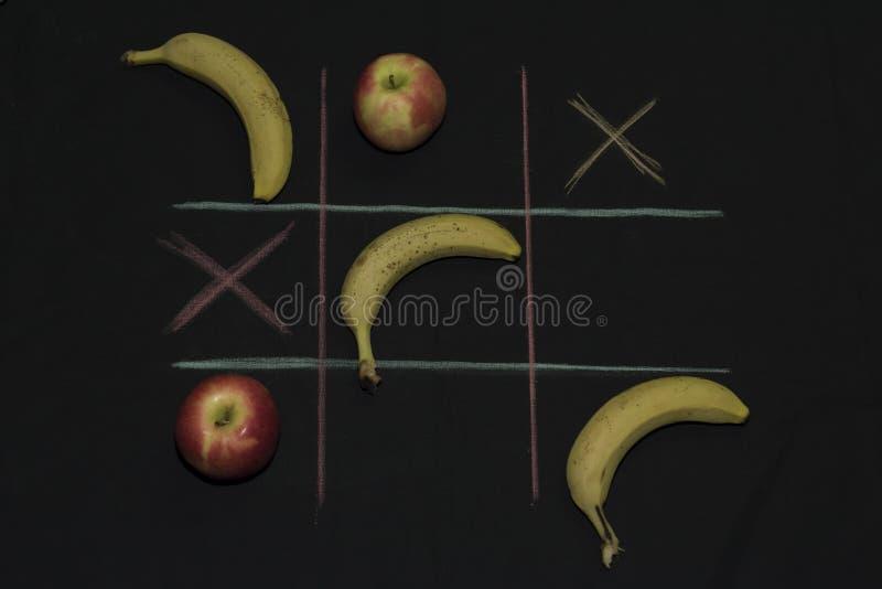 Tris Game with fruit royalty free stock photos