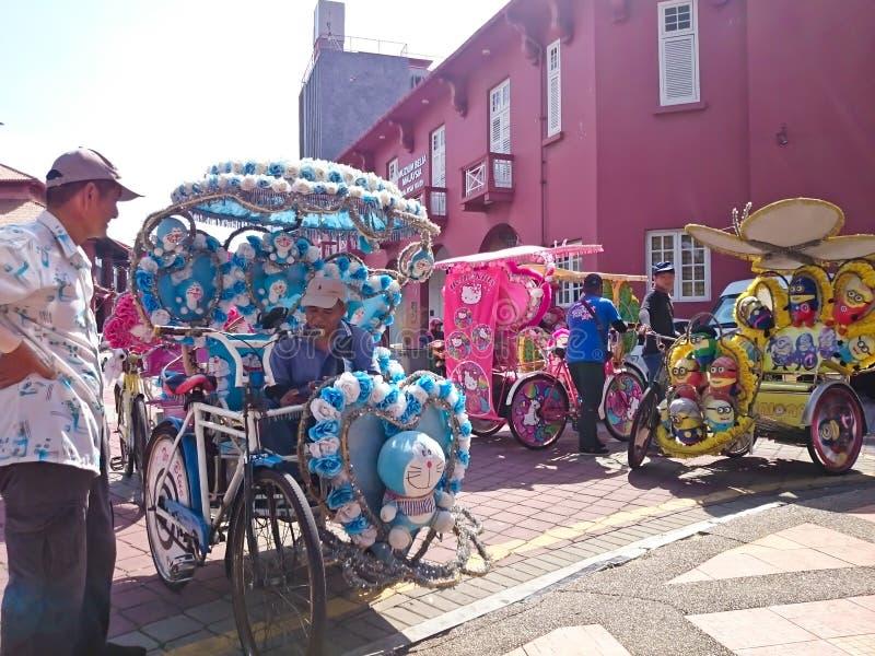 Trishaw an Melaka-Stadt stockbild