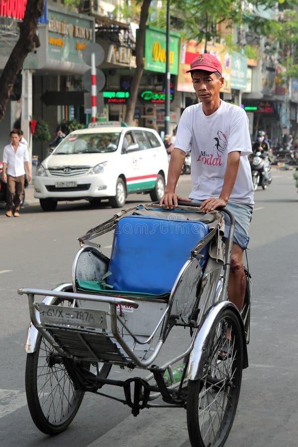 trishaw vietnam för chihominh arkivfoto