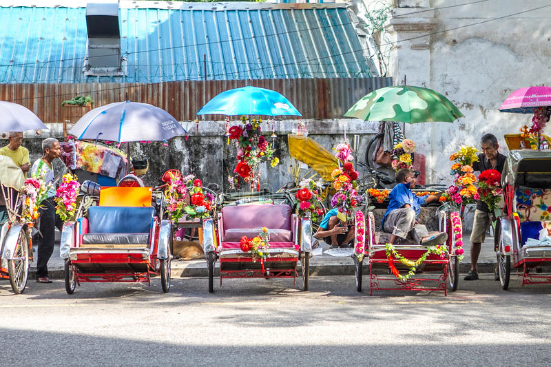 Trishaws in Georgetown Penang royalty-vrije stock foto