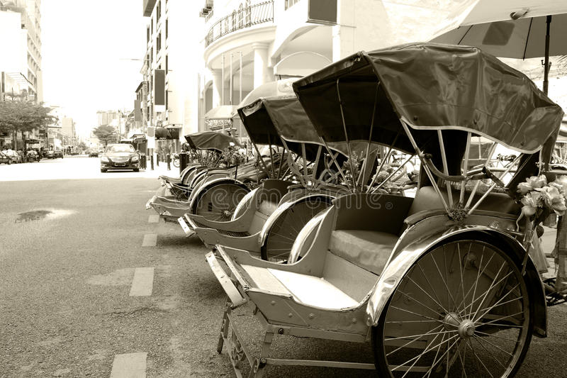 Trishaws (monocromático) imagem de stock