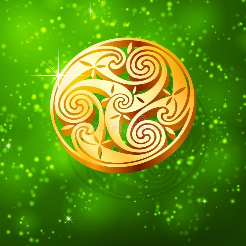 Triskel dourado mágico no fundo verde ilustração do vetor