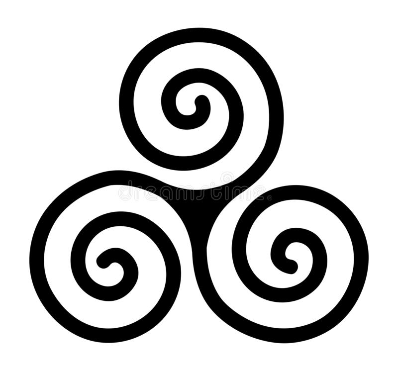 Triskele, spiral, three-spiral, triple, celt, circle, life, movement. Isolated triskele spiral sign in vector royalty free illustration