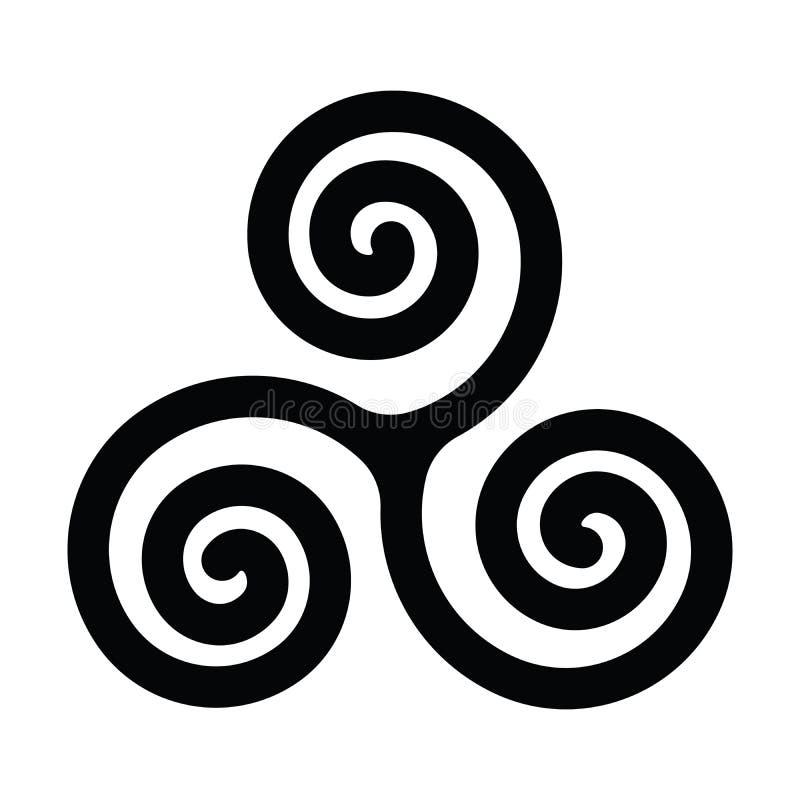 Triskelion ή triskele σύμβολο Τριπλή σπείρα - κελτικό σημάδι Απλή επίπεδη μαύρη διανυσματική απεικόνιση ελεύθερη απεικόνιση δικαιώματος