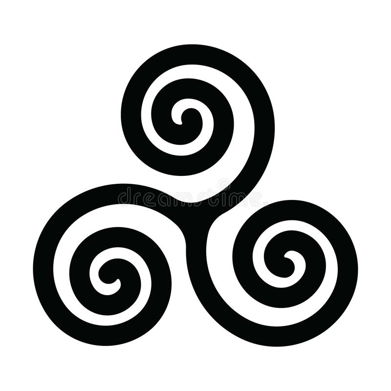 Triskelion ou symbole de triskele Spirale triple - signe celtique Illustration simple de vecteur de noir mat illustration libre de droits