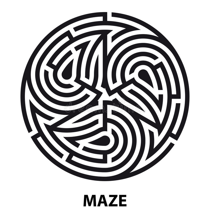 Triskelion symbol tattoo maze. Geometric circular labyrinth stock illustration