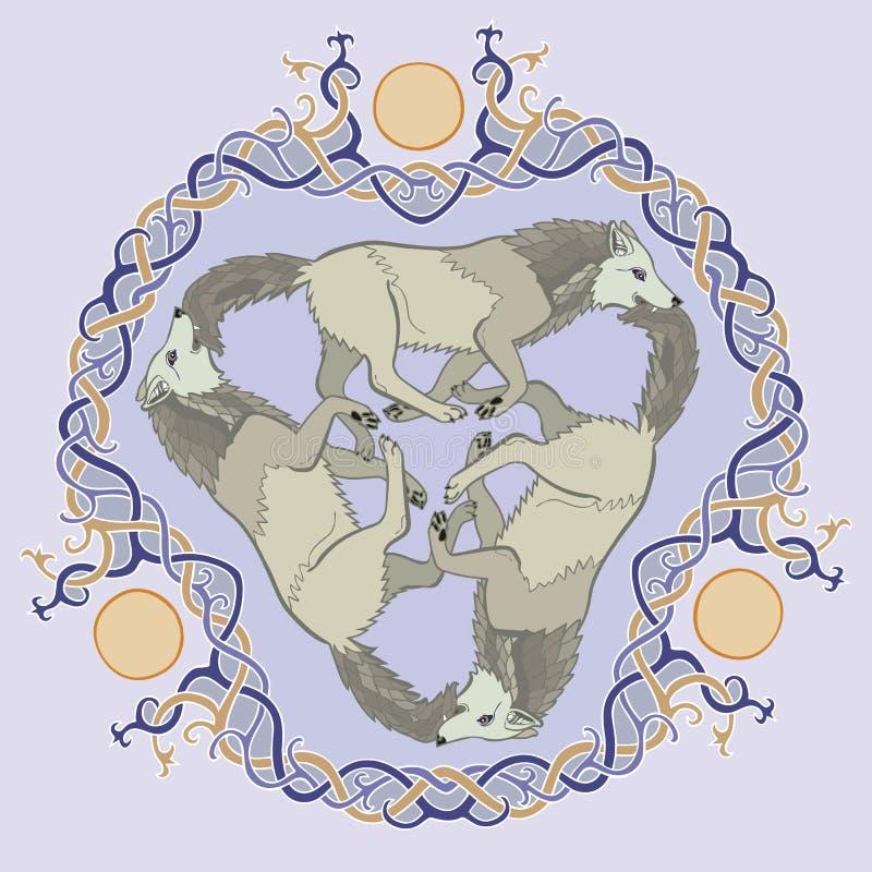 Triskelion van de de fantasie Keltische knoop van drie wolvenviking stock illustratie