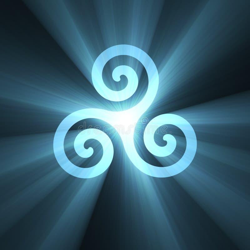 Triskelions-Spiralensymbol mit hellem Aufflackern lizenzfreie abbildung