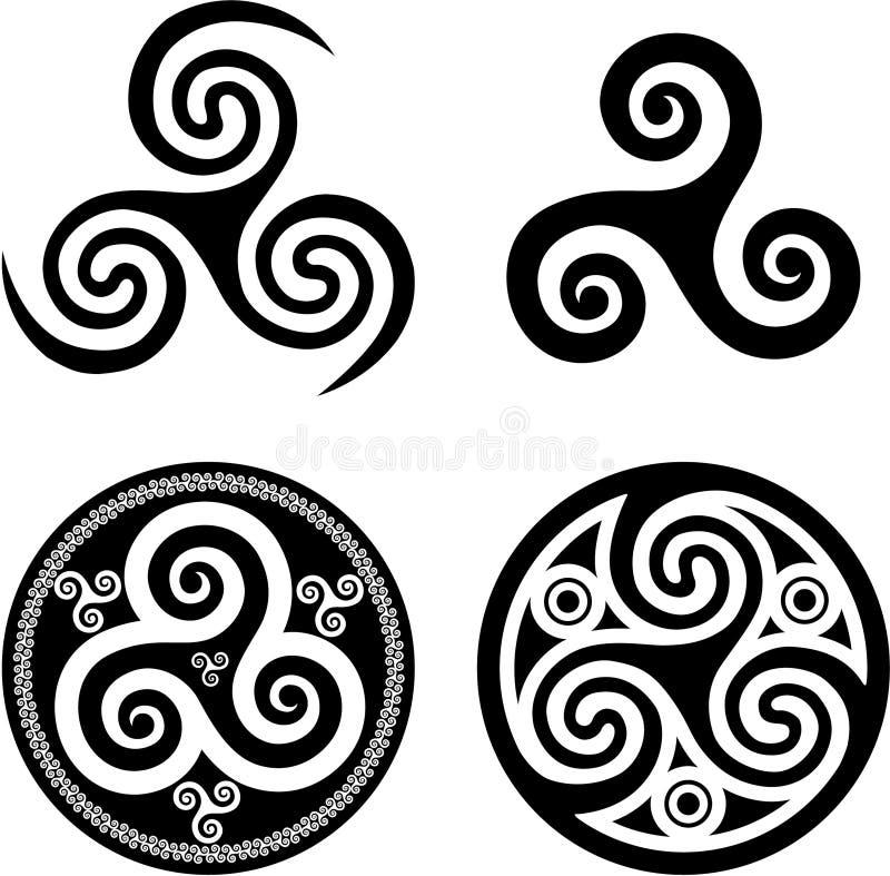 Triskels célticos negros ilustración del vector