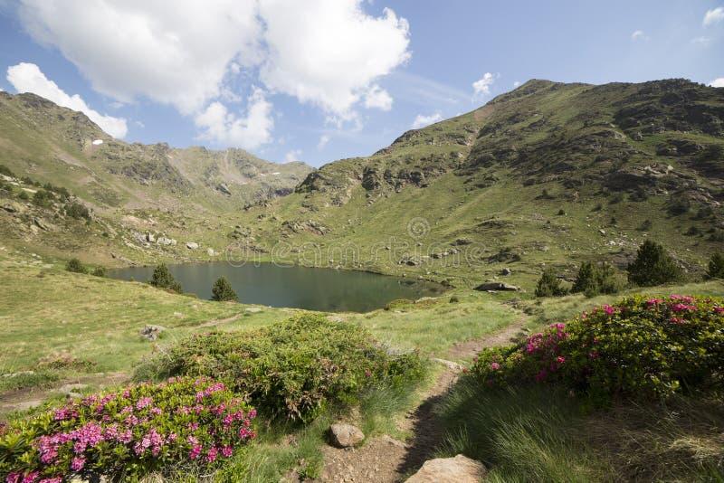 Tristaina sjöar i Pyrenees, Andorra fotografering för bildbyråer