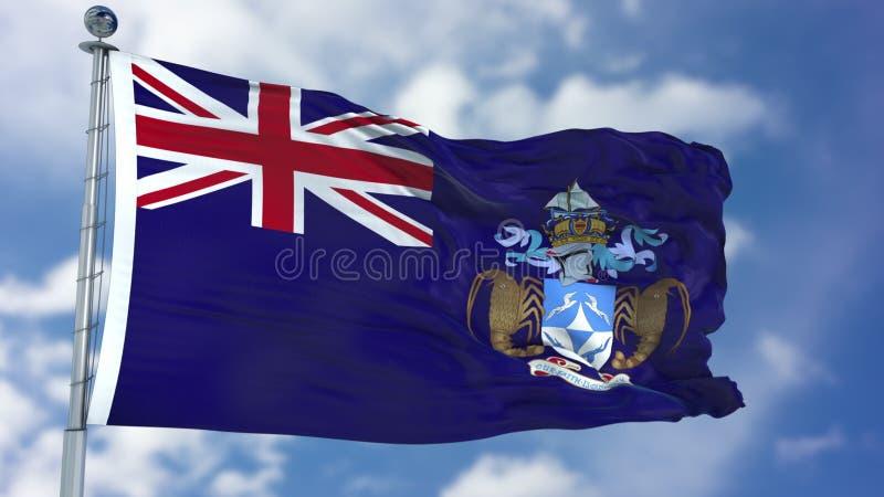 Tristan da Cunha Flag i en blå himmel arkivbilder
