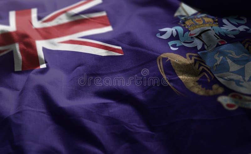 Tristan da Cunha Flag Rumpled Close para arriba imagen de archivo