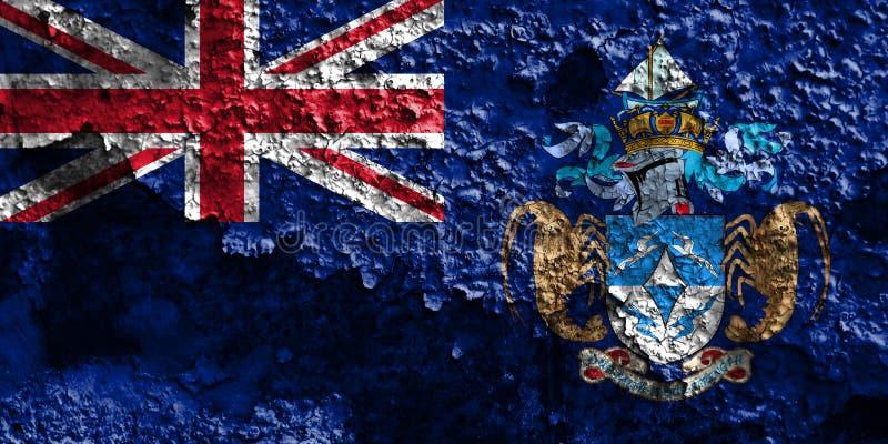 Tristan da Cunha grungeflagga, brittiska utländska territorier, britt arkivbild