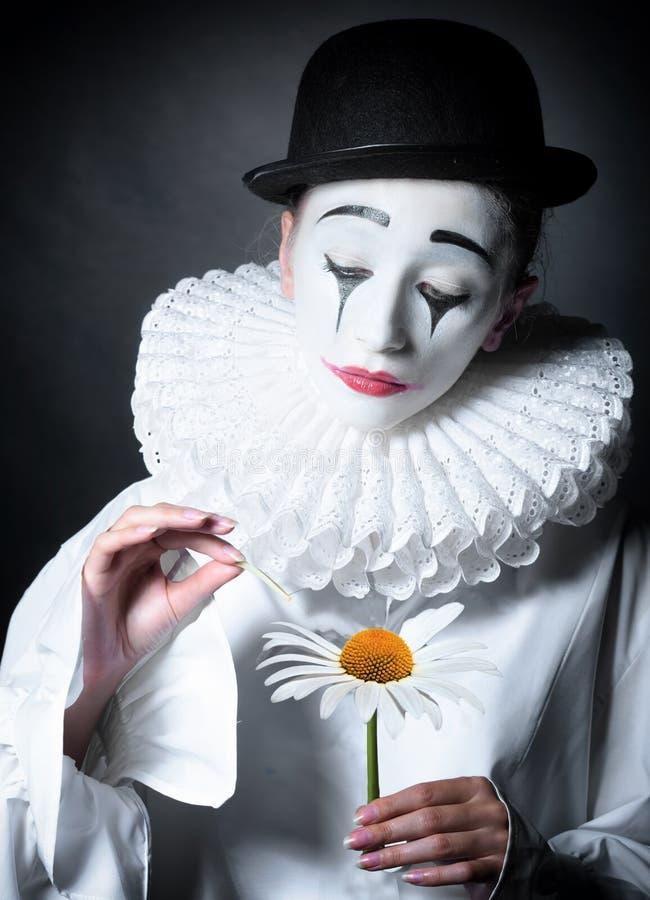 Triste imite a Pierrot foto de archivo libre de regalías