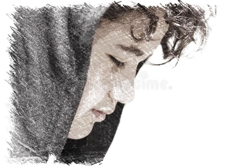 Triste incomodado 13 de velha escola anos de adolescente do menino que veste um levantamento do hoodie exterior - desenho imagens de stock