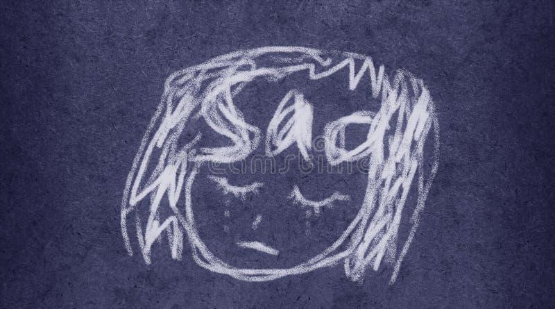 Triste: Pintura fácil da ilustração da escova ilustração royalty free