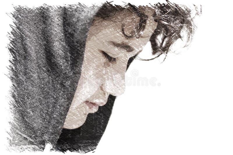 Triste préoccupé 13 années d'adolescent d'écolier portant une pose de hoodie extérieure - dessin images stock