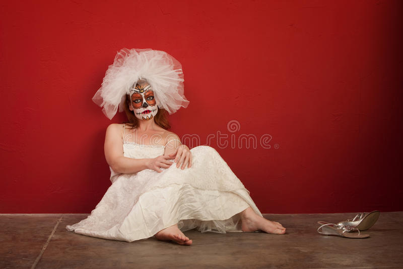 Triste tutta la sposa di anima fotografia stock libera da diritti