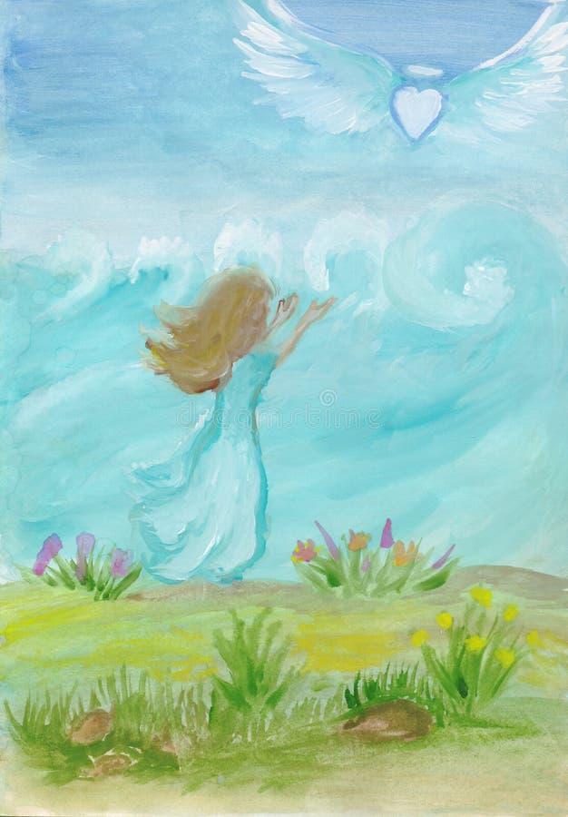 Tristeza da arte do conceito, separação, coração quebrado Arte pintado à mão do guache ilustração royalty free
