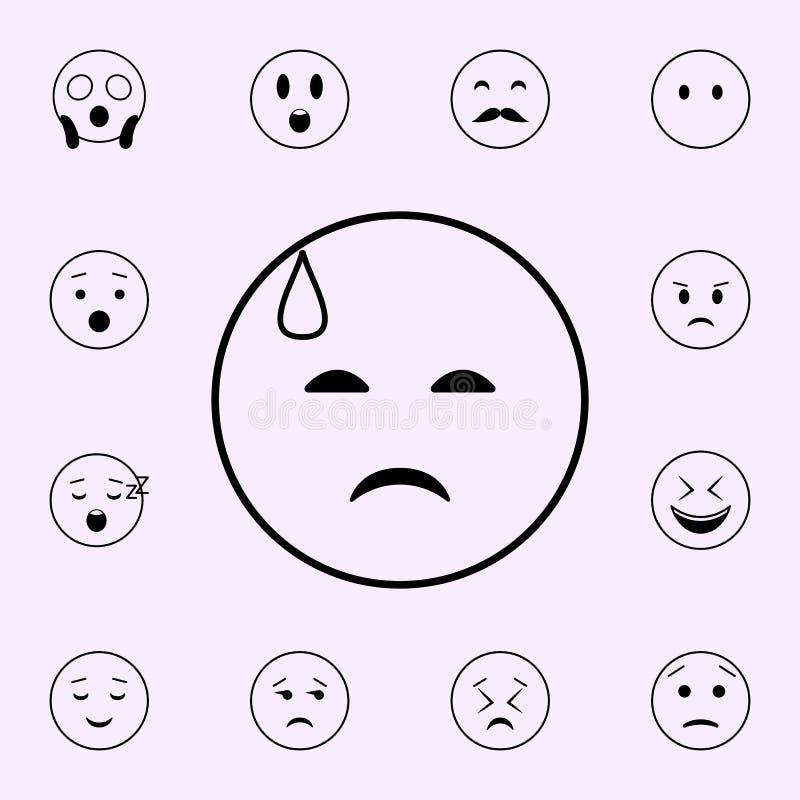 tristeza en un icono del sudor fr?o Sistema universal de los iconos de Emoji para la web y el m?vil stock de ilustración
