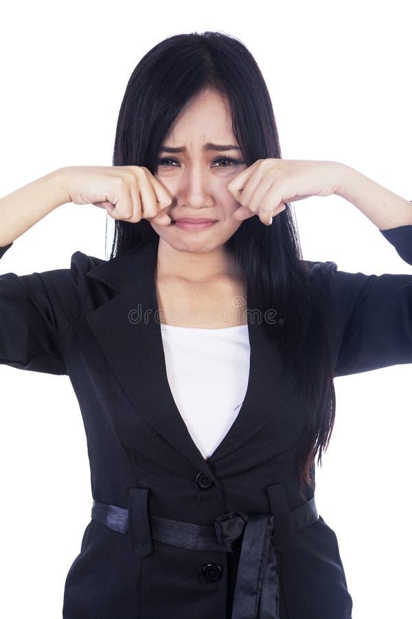 Tristeza expressa da mulher da actriz isolada no branco fotos de stock