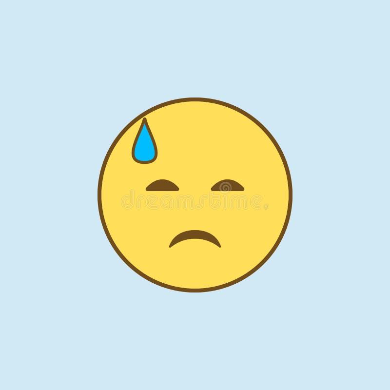 tristezza in una linea colorata icona del sudore freddo 2 Illustrazione gialla e marrone semplice dell'elemento tristezza in un p illustrazione vettoriale