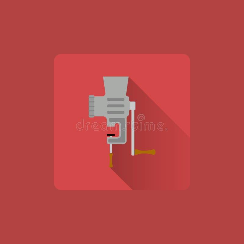 Tritacarne manuale dell'icona piana, utensili illustrazione vettoriale
