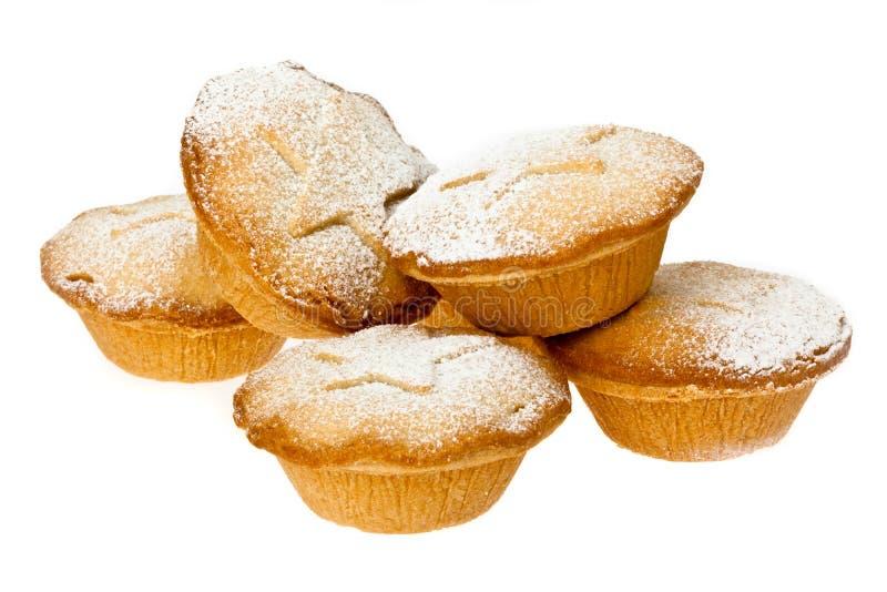 Triti i grafici a torta con la spolverata dello zucchero a velo immagini stock