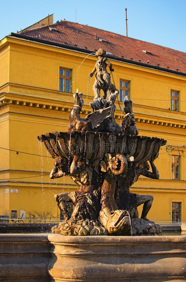 Triton Fountain during in Olomouc, Czech Republic. Sunset in summer.  royalty free stock photos