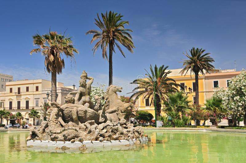 Triton fountain on the Piazza Vittorio Emanuele II in Trapani, Sicily, Italy stock photography