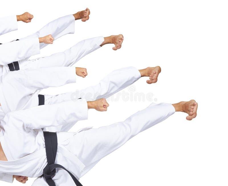 Trittfußsportler schlägt in karategi Collage lizenzfreie stockbilder