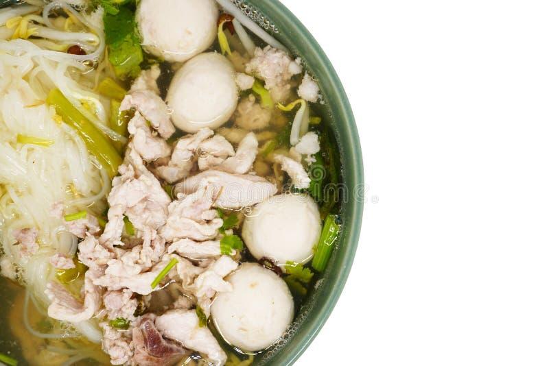 Triture a sopa de macarronete das bolas da carne de porco e de carne imagens de stock
