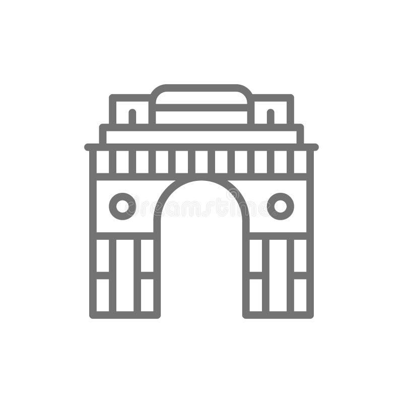 Triumfalnego łuku brama India New Delhi linii ikona royalty ilustracja