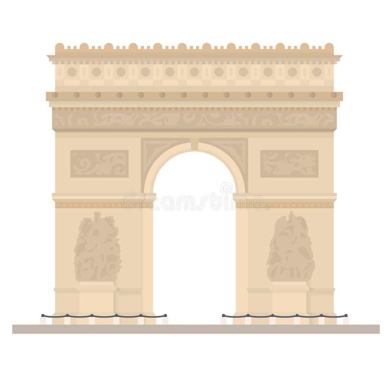 Triumfalny łuk przy Paryż, Francja, płaska projekta wektoru ilustracja ilustracja wektor