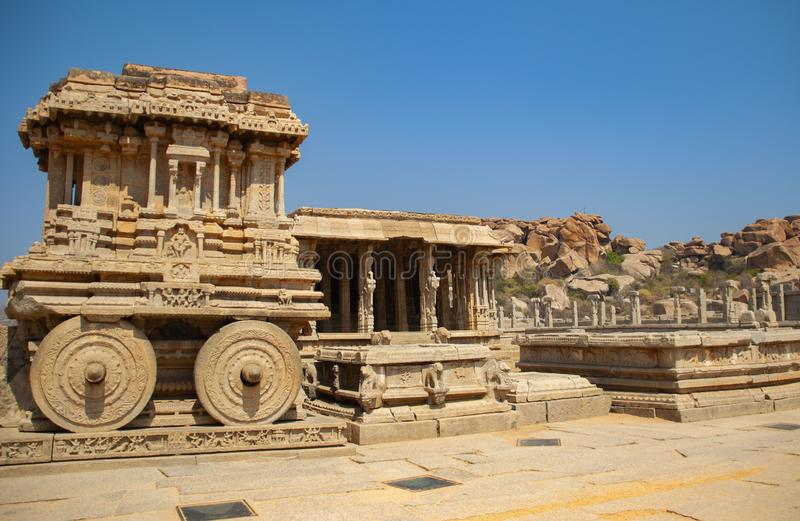 Triumfvagn- och Vittala tempel p? Hampi, Indien royaltyfria foton