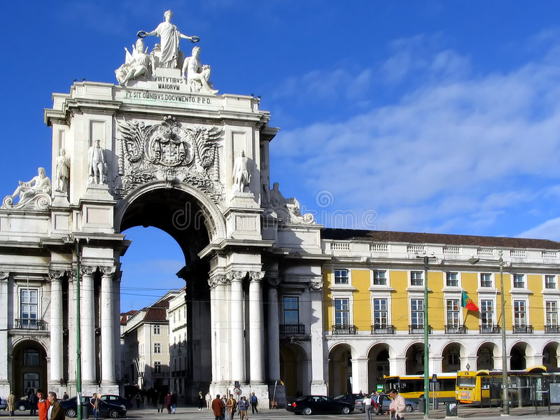 Triumph Arch. The famous Triumph Arch of Augusta Street in Lisbon, Portugal royalty free stock photo