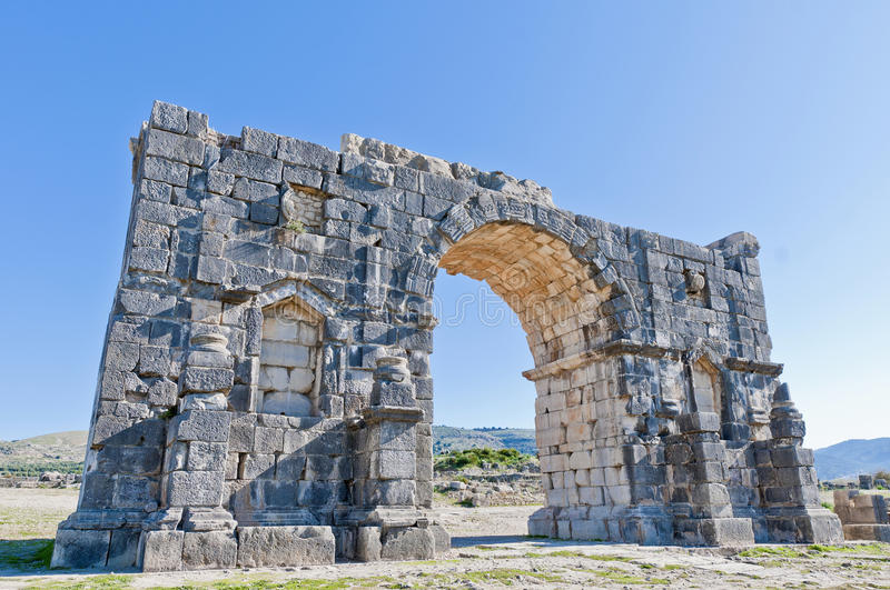 Triumph Arch at Volubilis, Morocco stock photography