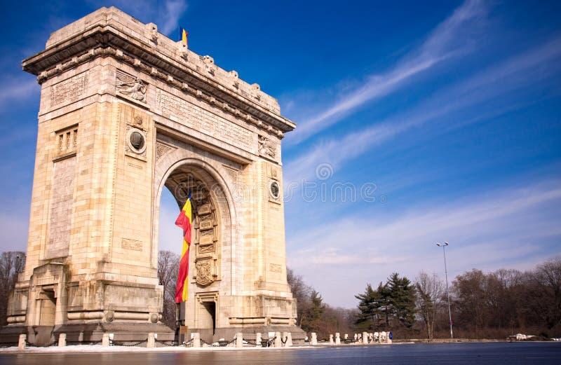 Triumph-Bogen in Bucharest Rumänien lizenzfreies stockbild