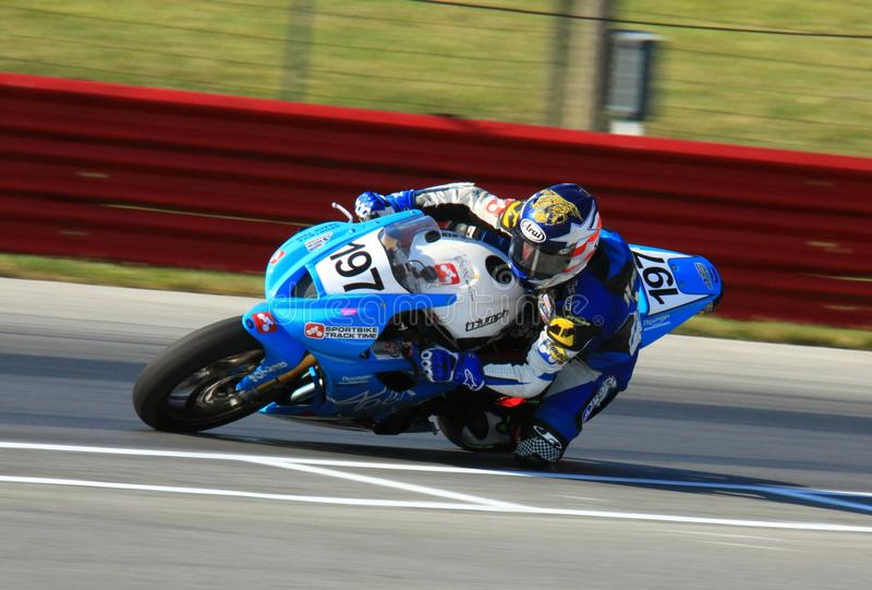 Triumph Daytona race bike. Richard Harris races the Triumph Daytona 675 race motorcycle at the pro motorsports super motorcycle racing event, Central Ohio stock images