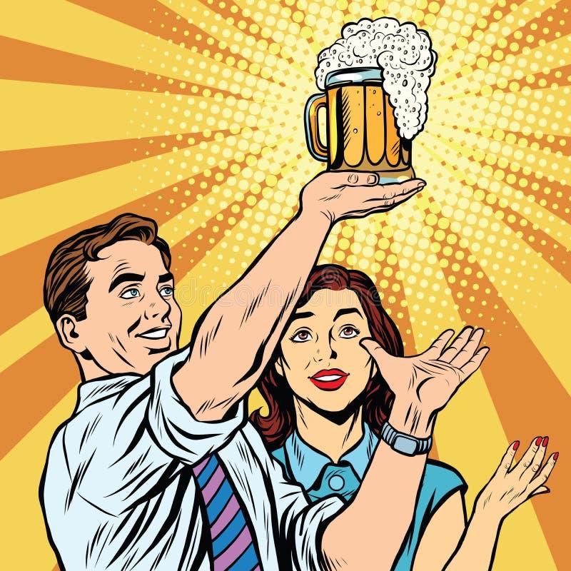 Triumph festiwalu piwnego baru karczemny mężczyzna i kobieta royalty ilustracja