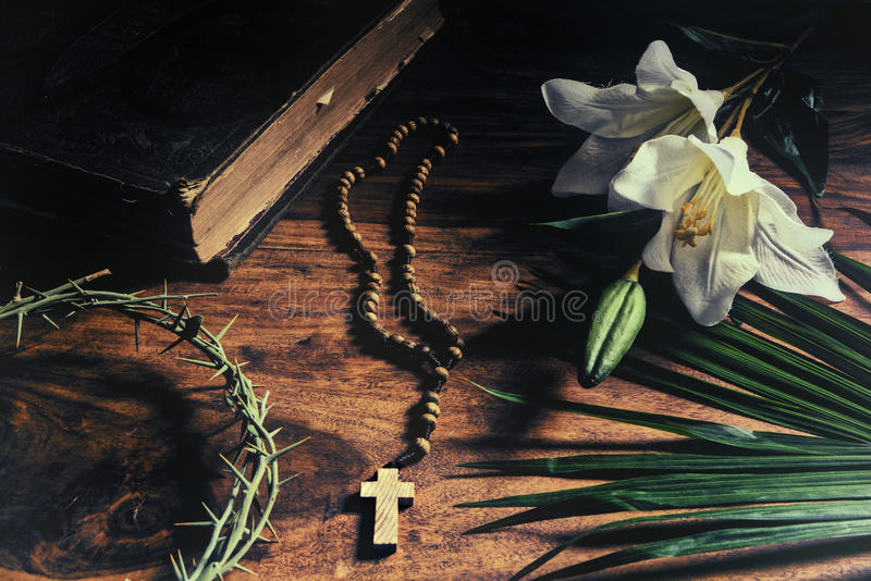 Triumph - Passion - Crucifixion - Resurrection. The Triumph, Passion, Crucifixion and Resurrection. Iconic Christian symbols representing events from Palm Sunday royalty free stock photography