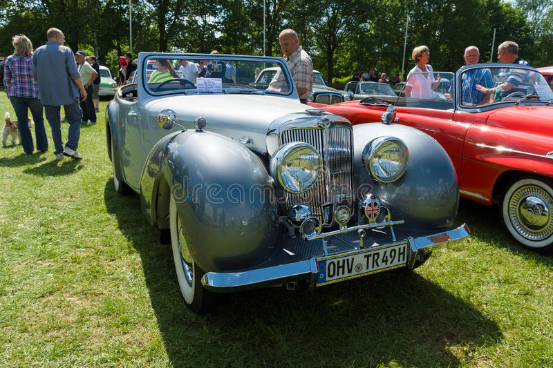 The Triumph Roadster. PAAREN IM GLIEN, GERMANY - MAY 19: The Triumph Roadster was the first post war car from Britain's Triumph Motor Company, produced from 1946 royalty free stock photography
