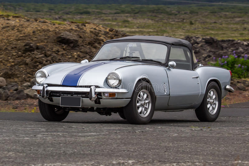Triumph Spitfire. Image of a 1968 Triumph Spitfire at a drag racing event in Iceland stock images