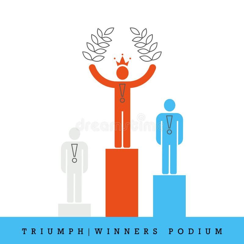 Triumph stil för vinnarepodiumlägenhet och fodrar thin vektorsymbolen royaltyfri illustrationer