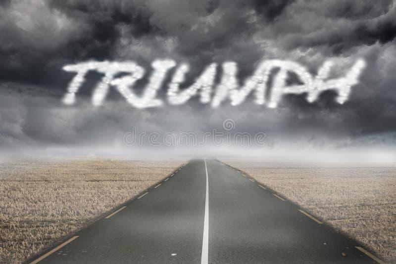 Triumph tegen nevelig bruin landschap met straat vector illustratie